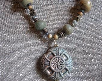 Celtic Ceramic Bead Necklace