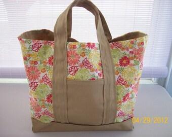 Tan & Coral Tote Bag - SALE