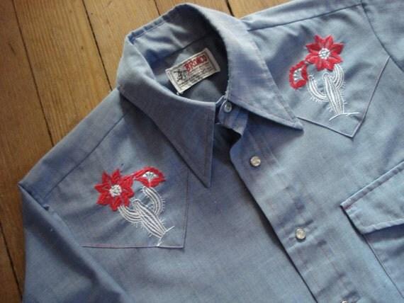 1970s Chambray Cotton Cowboy Western Work Shirt Mens 42 2012299