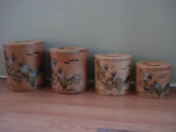 Wood Rooster Counter Canisters 1960s