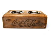 Vintage Elevated Dog Feeder. Low. Natural Coca-Cola from Los Angeles.