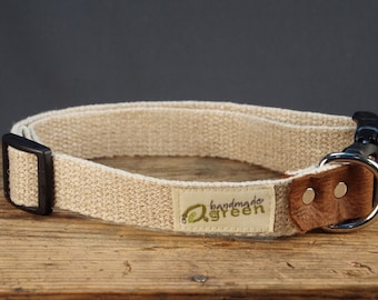 Plain Hemp Dog Collar for Large Dogs by Handmade Green. Ready to Ship.