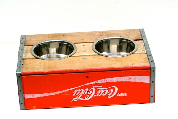 Vintage Elevated Dog Feeder. Low. Red Coca Cola.