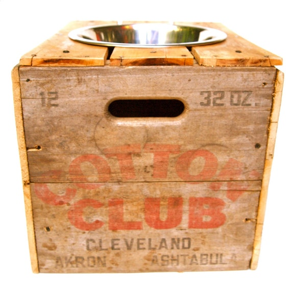Large Vintage Elevated Feeder. Single Bowl. Upcycled Wood Shipping Crate. Cotton Club.