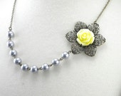 Wedding Flower Necklace in Yellow and Silver Gray