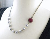 Gray and Burgundy  Wedding Flower Necklace