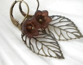 Brown Acrylic Flower and Brass Filigree Leaf Earrings
