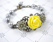 Yellow and Gray Filigree Flower Bracelet