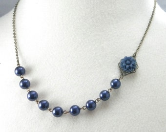 Navy Blue Wedding Flower Necklace