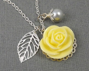 Yellow and Gray Flower and Leaf Charm Wedding Bridesmaids Necklace Reserved for hiltonfxgirl