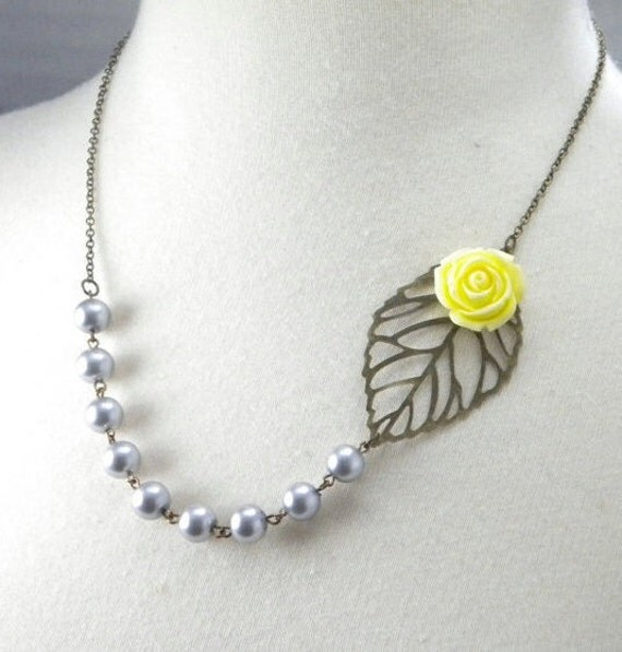 Gray and Yellow Wedding Leaf and Flower Necklace