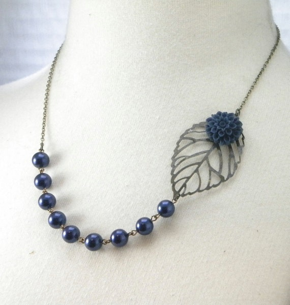 Navy Blue Flower and Brass Filigree Leaf Bridesmaids Wedding Necklace