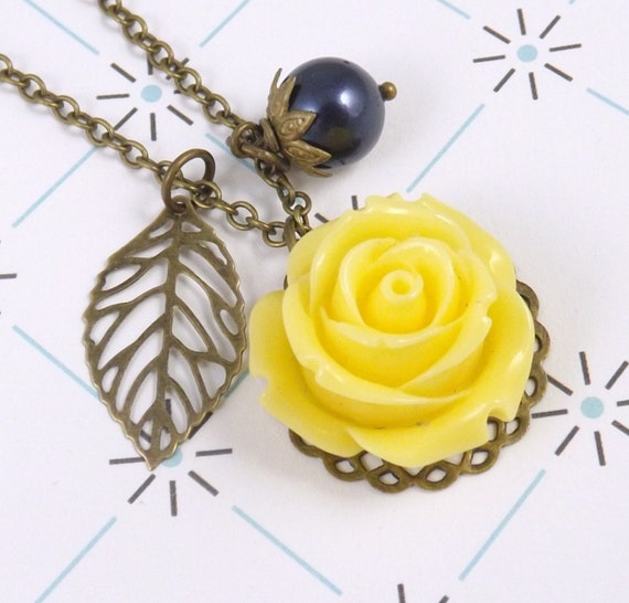 Navy Blue and Yellow Flower and Leaf Charm Necklace