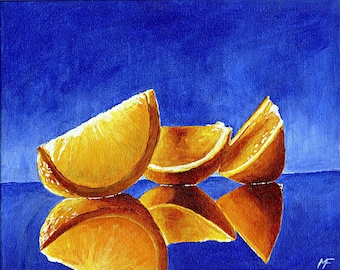 Reflections of Oranges, Original 10 x 8 Painting