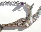 RESERVED Bird and Purple Crystal Necklace RESERVED