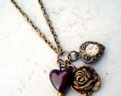 Brass and Hearts Necklace RESERVED for MARLENE