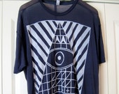 """VV """"pointed eye"""" sheer hand printed tee-WHITE ink on NAVY tee- one size fits most"""
