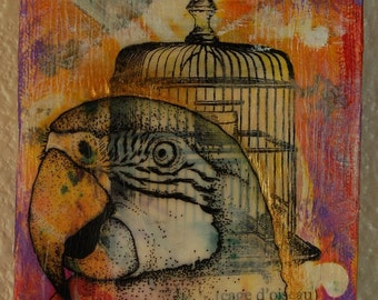 Birdcage Mixed Media Painting
