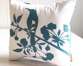 Teal Print on Off white Blooming Blossom-Mini 10.5 Inches Square Pillow