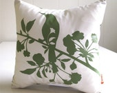SALE Olive Green Print on Off white Blooming Blossom-Mini 10.5 Inches Square Pillow