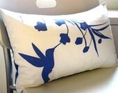 SALE Cobalt Blue Print on Off White Cotton Hummingbird with Eucalyptus Rectangle Pillow