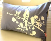 Limited Time Sale Slate Blooming Blossom Rectangle Pillow