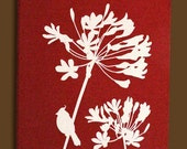 Red Cardinal on Agapanthus Wall Art
