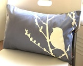 Limited Time Sale  Slate Bird on Cherry Blossom Pillow
