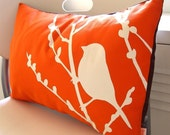 Orange Bird on Cherry Blossom Pillow