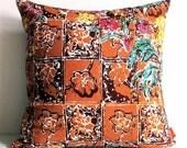 The Brown Tones Floral Batik Pattern 16 Inches Square Pillow