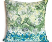 SALE Olive Green and Teal Floral Pattern 16 Inches Square Pillow Cover