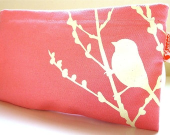 SALE Coral Bird on Cherry Blossom Pouch