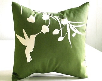 Olive Green Hummingbird with Eucalyptus  - Mini 10.5 Inches Square Pillow