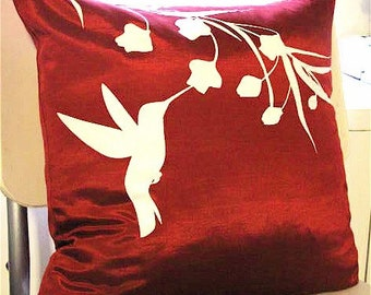 Red Hummingbird with Eucalyptus  17 inches Square Pillow