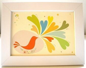 Framed Birdie Shares Love Print