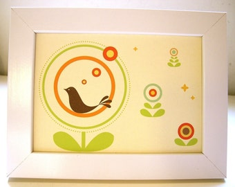 Framed Tweetie in the Circle Flower Print