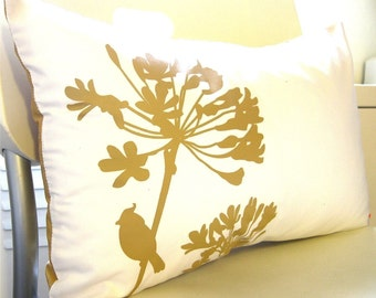 Mustard Print on Off White Cotton Cardinal on Agapanthus Rectangle Pillow