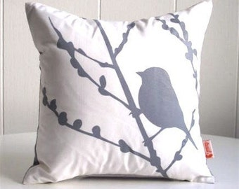 Grey Print on White Cotton Bird on Cherry Blossom - Mini 10.5 Inches Square Pillow