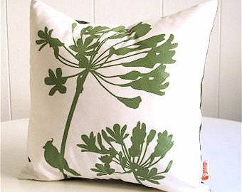 Olive Green Print on Off-White Cardinal on Agapanthus-Mini 10.5 Inches Square Pillow