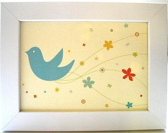 Framed Blue Bride Bird Print