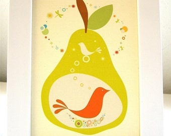 Framed Birdies in a Pear Print