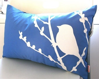 Royal Blue Bird on Cherry Blossom Pillow