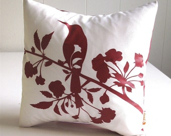 SALE Red Print on Off white Blooming Blossom-Mini 10.5 Inches Square Pillow