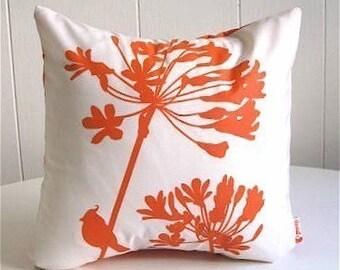 Orange Print on Off-White Cardinal on Agapanthus-Mini 10.5 Inches Square Pillow