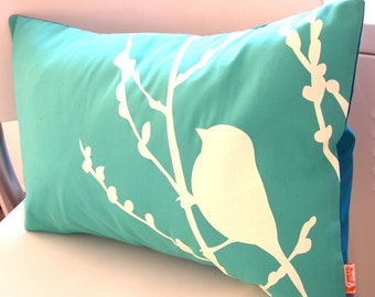 Sale Mint Green Bird on Cherry Blossom Pillow