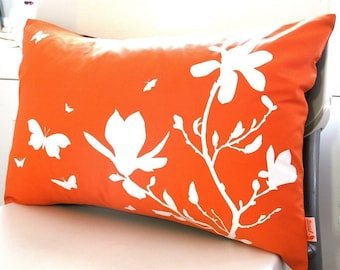 Limited Time Sale Orange Magnolia and Butterfies Rectangle Pillow