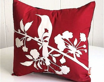 SALE Red Blooming Blossom-Mini 10.5 Inches Square Pillow