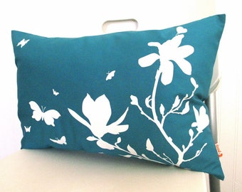 Teal Magnolia and Butterfies Rectangle Pillow