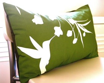 Olive Green Hummingbird with Eucalyptus Rectangle Pillow