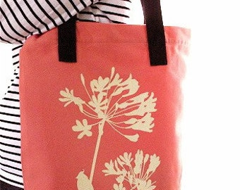 SALE Coral Cardinal on Agapanthus Shoulder Tote Bag
